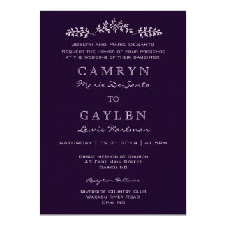Elegant Dark Plum Chic Formal Wedding Invitation