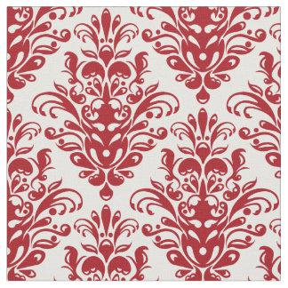 Elegant dark red  and white damask pattern fabric