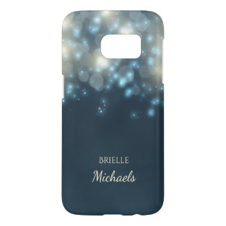 Elegant Dark Teal Bokeh Glamour Glow With Name Samsung Galaxy S7 Case