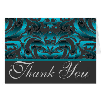 Elegant Dark Teal Damask Thank You Wedding Card