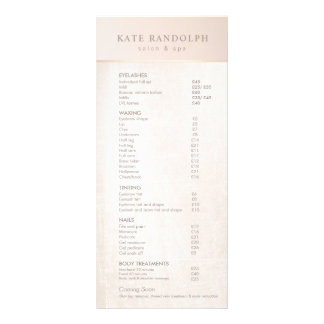 Elegant Day Spa Pink Marble Salon Price List Menu
