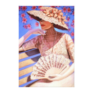 Elegant Decor Art Victorian lady, hat canvas print