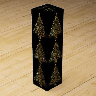 Elegant Decorative Black Gold Merry Christmas Tree Wine Gift Box