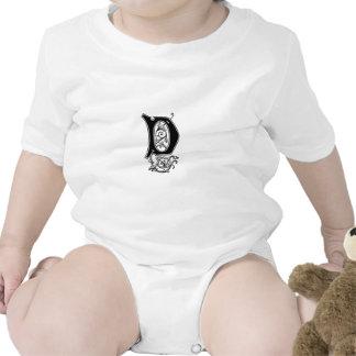 Elegant Decorative Monogram D Baby Creeper
