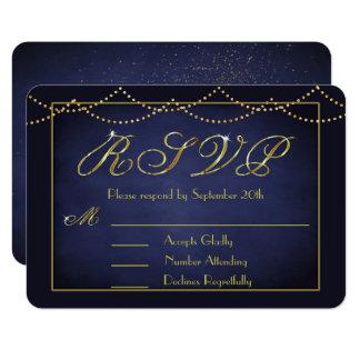 Elegant Deep Blue and Gold Glitter RSVP Cards
