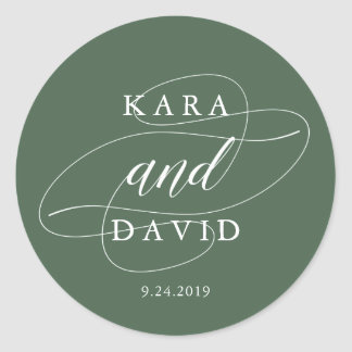 Elegant Deep Green and White Calligraphy Wedding Round Sticker