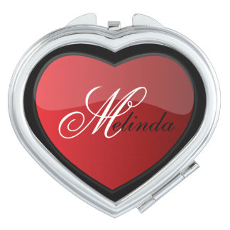 Elegant Deep Red Heart | Personalize Compact Mirrors