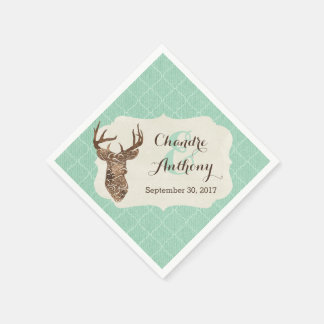 Elegant Deer Antlers Rustic Country Wedding Paper Napkin
