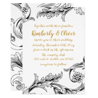 Elegant Delicate Floral Wedding Invitation