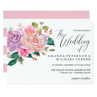 Elegant delicate pink roses bouquet  Wedding Card