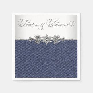 Elegant Denim and Diamonds Paper Napkin