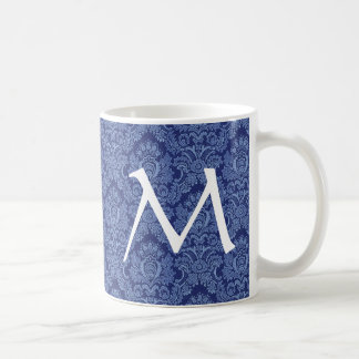 Elegant DENIM BLUE Damask Monogram Mug