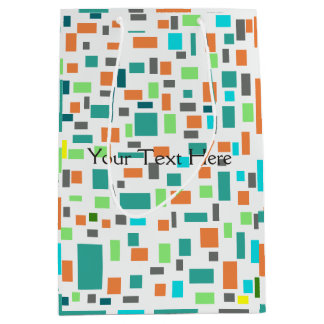 Elegant Design Pattern with Colorful Rectangles Medium Gift Bag