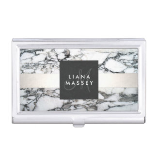Elegant Designer Black and White Marble Monogram Business Card Holder