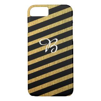 Elegant diagonal gold and black monogram iPhone 7 case