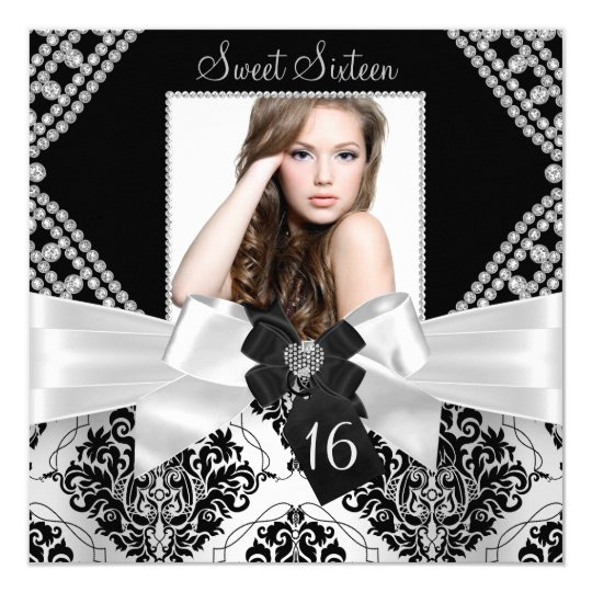 Elegant Diamond Bow & Black Damask Photo Sweet 16 Card