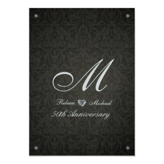 Elegant Diamond Damask Monogram Anniversary invite