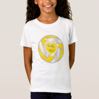 Elegant Diamond Heart Bright Yellow Volleyball T-Shirt