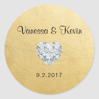 Elegant Diamond Heart Gold Wedding Gift Favors Classic Round Sticker