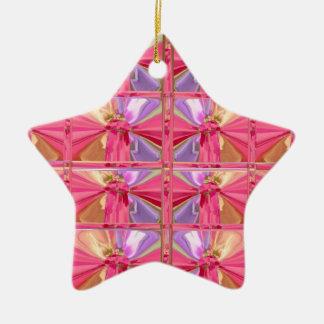 Elegant Diamond Pattern Rose Pink Smile Happy star Ceramic Ornament
