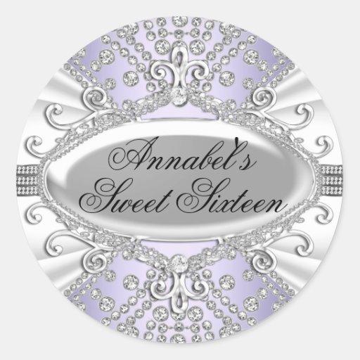Elegant Diamond Purple Sweet 16 Sticker