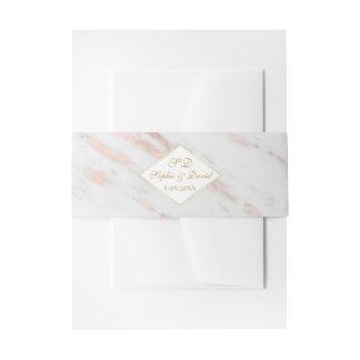 Elegant Diamond Rose Gold Marble Wedding Invitation Belly Band