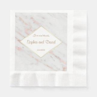 Elegant Diamond Rose Gold Marble Wedding Paper Napkin