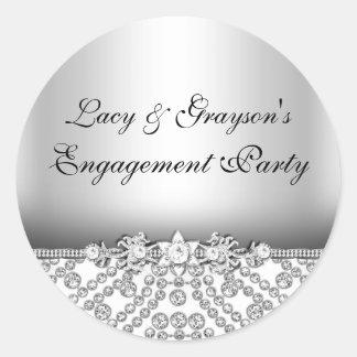 Elegant Diamond Silver Engagement Party Sticker