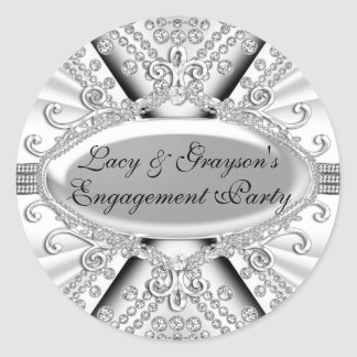 Elegant Diamond Silver Engagement Party Sticker