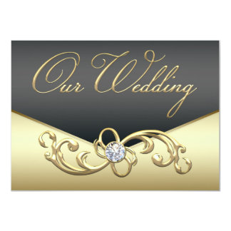 Elegant Diamond Swirl Black and Gold Wedding Card