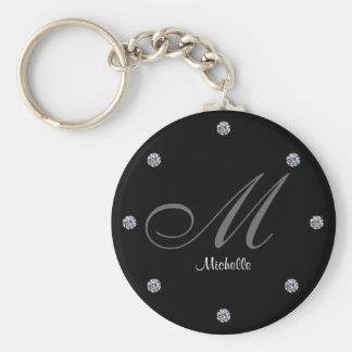 Elegant Diamond Themed Monogram Key-Chain Basic Round Button Keychain