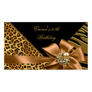 Elegant Directions Party Zebra Leopard Gold Black Business Card Template
