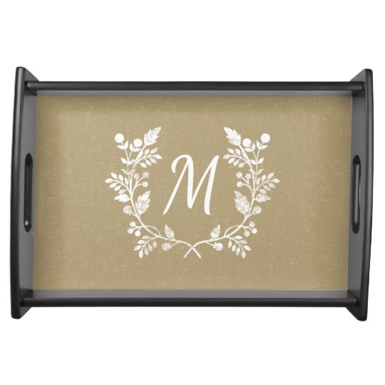 Elegant Distressed Floral Wreath Personalized Service Trays