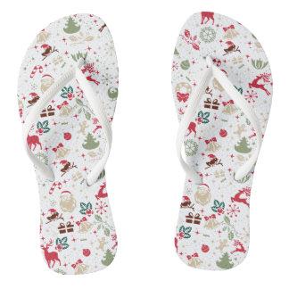 Elegant Ditsy Christmas and New Year   Flip Flops