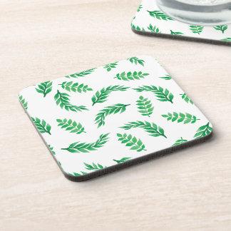 Elegant Ditsy Green Leaves   Coaster