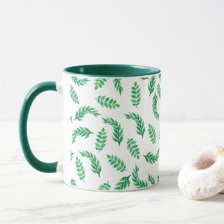 Elegant Ditsy Green Leaves | Combo Mug