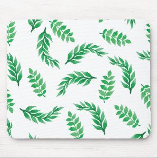 Elegant Ditsy Green Leaves | Mousepad