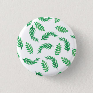 Elegant Ditsy Green Leaves Pin Button