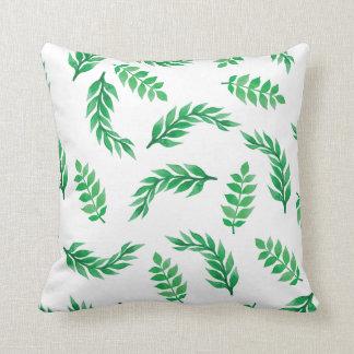 Elegant Ditsy Green Leaves | Throw Pillow