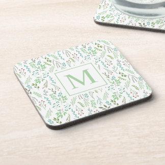 Elegant Ditsy Leaves Monogram   Coaster