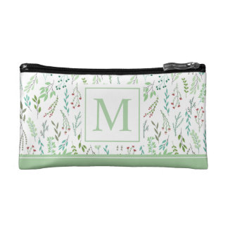 Elegant Ditsy Leaves Monogram | Cosmetic Bag
