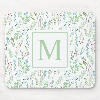 Elegant Ditsy Leaves Monogram | Mousepad