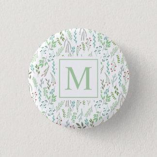 Elegant Ditsy Leaves Monogram Pin Button