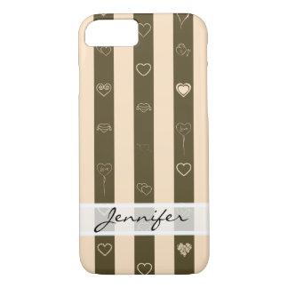 Elegant Donkey Brown Stripes Modern Heart Pattern iPhone 8/7 Case