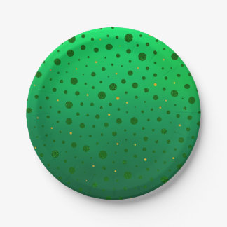 Elegant Dots - Green Gold - St Patrick's Day Paper Plate