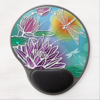 Elegant Dragonflies Colorful Water Lily Flowers Gel Mouse Mats