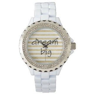 elegant dream big text | faux gold glitter stripes watch