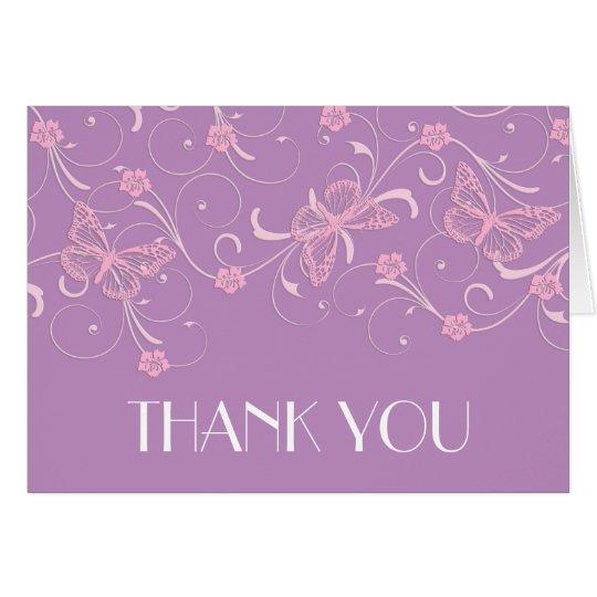 Elegant Dream Lavender Butterfly Thank you card