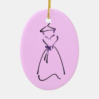 Elegant Dress Design with Customizable Slogan Ceramic Ornament