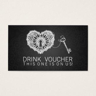 Elegant Drink Voucher Key To My Heart Black Business Card